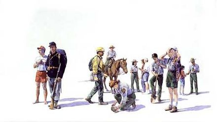 Depicts twelve figures, most in NPS uniforms, shown in occupations from left to right: a lifeguard, a Civil War reenactor, fire management, mounted patrol, researcher and/or natural resources with fish, a female ranger with two visitors, a laborer, a climber/rescuer, and a youth with a male ranger. NPS Employees 12 types of work 08368.jpg