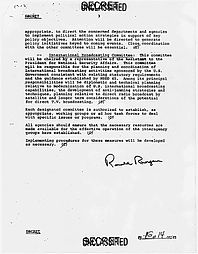 Directive showing signature of President Ronald Reagan