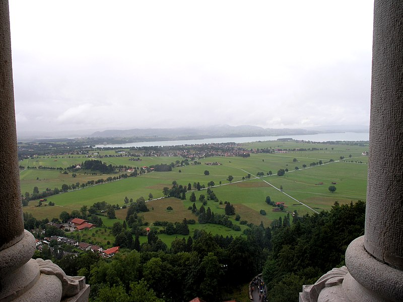 This picture was taken from the Schloss Neuschwanstein in Bavaria, Germany. The view is to the   north-west, where you can see the Forggensee and parts of the town of Schwangau.