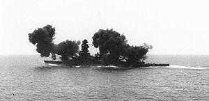 Japanese battleship Nagato - Nagato firing her main armament, 1936