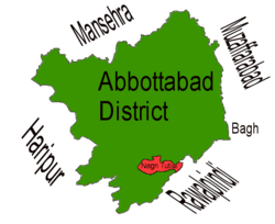 Location of Nagri Tutial (highlighted in red) within Abbottabad district, the names of the neighbouring districts to Abbottabad are also shown.