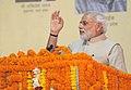 Narendra Modi addressing at the foundation stone laying ceremony of Trade Facilitation Center and Crafts Museum and Inauguration of Powerloom Service Center, at Varanasi, Uttar Pradesh on November 07, 2014.jpg