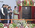 Narendra Modi unveiling the plaque to lay the Foundation Stone of the Srinagar-Leh power transmission line, at Leh. The Governor of Jammu and Kashmir, Shri N.N. Vohra, the Chief Minister of Jammu and Kashmir.jpg