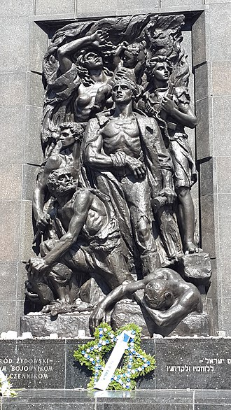 Mordechai Anielewicz - Monument to the Ghetto Heroes (Aniołek is in the center, wielding a hand grenade)