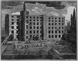 Salford - A woodcut illustrating a serious incident at Nathan Gough's spinning mill in Salford, 1824