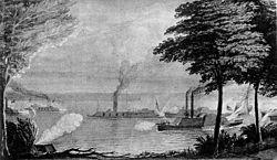 Grabado de batalla naval