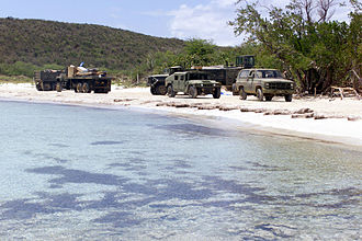 United States Navy in Vieques, Puerto Rico - U.S. Navy vehicles on a beach at Camp Garcia, Vieques.