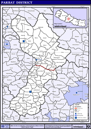 Parbat District - Map of the VDCs in Parbat District
