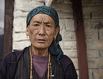 Wrinkle - An elderly woman of Nepali origin with facial wrinkles