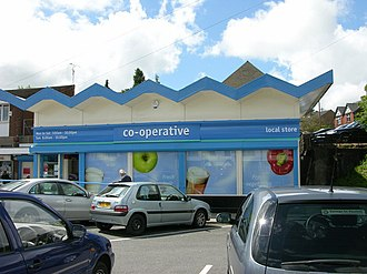 The Co-operative brand - Example of the 'Cooperative' branding from Holcombe, Greater Manchester.