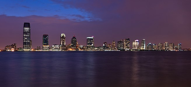 New Jersey Skyline as seen from Battery Park docks in New York.