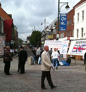 2010 United Kingdom general election - Nick Griffin, leader of the British National Party, talking to voters in Romford Market.