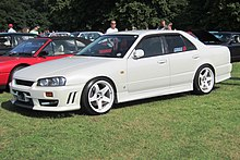 Nissan Skyline R34 year of manufacture given as 1998 registered in UK January 2011 engine size given as 2498cc.JPG