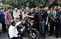 Nitin Gadkari along with the Chief Minister of Bihar, Shri Nitish Kumar inspecting the vehicles run on alternate fuel, in New Delhi.jpg