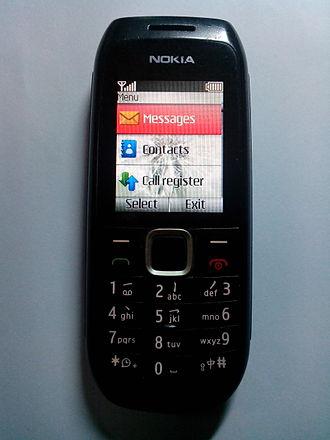 Nokia 1616 - Nokia 1616 with keypad showing Chinese base symbols