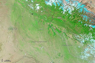 2013 North India floods - Satellite image of the affected region, taken on 30 May by NASA's MODIS.