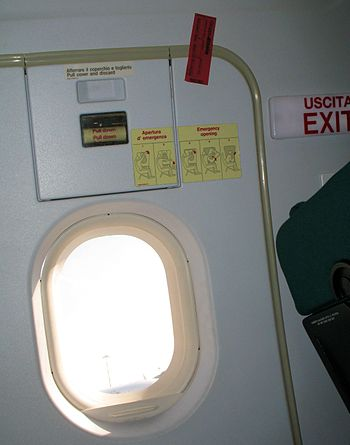 Unbroken seal on the emergency exit door of a ...