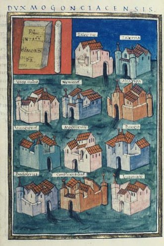 Vangiones - The eleven prefectures of the Duke of Mainz in the Notitia Dignitatum. Castle Vangionis is the 2nd up from the bottom in the left column.