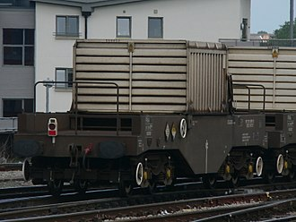 Nuclear flask - Wagon with transport cabin containing a nuclear waste flask, at Bristol