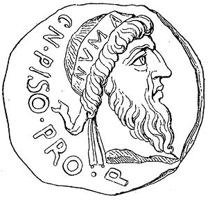 Numa Pompilius - Numa Pompilius, as imagined on a Roman coin minted by Gnaeus Calpurnius Piso during the reign of Emperor Augustus. Piso himself claimed descent from the king.
