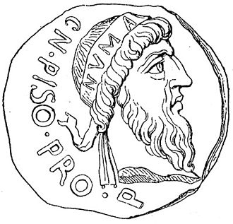 Numa Pompilius - Numa Pompilius shown as an effigy on a Roman coin minted by Gnaeus Calpurnius Piso during the reign of Emperor Augustus. Piso himself claimed descent from the king.