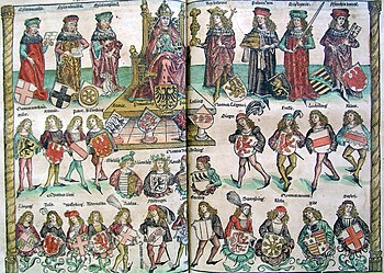 Nuremberg chronicles - Organizational Structure of the Empire of the Holy Roman Empire (CLXXXIIIv-CLXXXIIIIr)