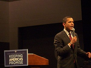 United States presidential election, 2008 - Barack Obama campaigns in Akron, Ohio on February 23, 2008