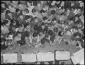 Oakland, California. Hot Jazz Recreation. Swing enthusiasts crowd against the band stand at an appearance of the... - NARA - 532265.tif
