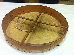 Bodhrán - Bottom view of a bodhrán-like frame drum made in the 1960s or earlier; note scarf-joined frame.