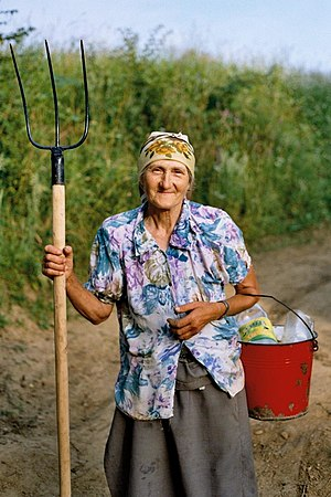 An old farmer woman.