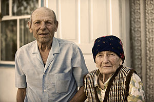 An old married couple in Kyrgyzstan, 2010.