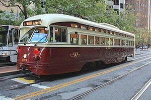 """Presidents' Conference Committee (Toronto streetcar) - San Francisco Municipal Railway """"1074"""" PCC painted in TTC livery"""