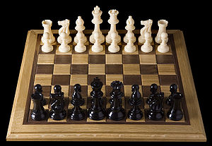 English: Opening chess position from black sid...