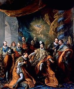 30 novembre 1676: Huitième promotion - Liste des chevaliers de l'ordre du Saint-Esprit 250px-Orde_van_de_Heilige_Geest_door_Vanloo