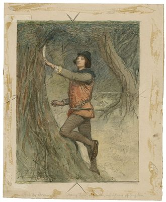 As You Like It - A watercolor illustration: Orlando pins love poems on the trees of the forest of Arden.