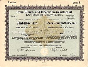 Otavi Mining and Railway Company - Share Warrant to Bearer of the Otavi Mining and Railway Company, 1921
