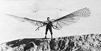 Ornithopter - Otto Lilienthal on August 16, 1894 with his kleiner Schlagflügelapparat