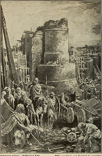 "History of the Jews in Iran - Jews mourning over the ruins of Jerusalem. Jerusalem is rebuilt by Cyrus, Darius and Artaxerxes, From ""Our day in the light of the prophecy"", 1921."