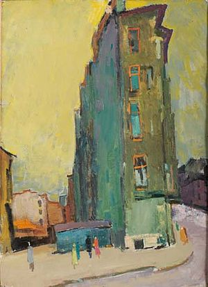 Felix Lembersky - Felix Lembersky 1913-1970. Building Block after Gun Fire. Leningrad, 1959. Oil on board, 28 3/4 x 20 7/8 inches