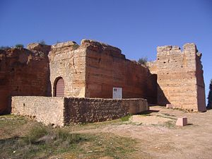 Albufeira - The massive walls of the remains of the Castle of Paderne, a Moorish castle constructed in the period before the Portuguese Reconquista