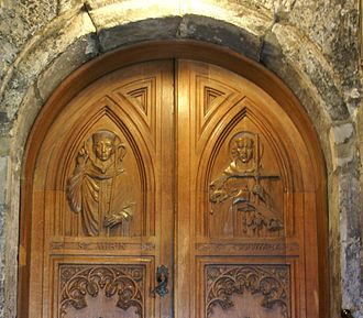Saint Mirin - Image: Paisley Abbey 20120410 door with St Mirin and St Columba