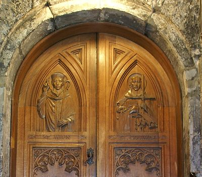 Paisley Abbey 20120410 door with St Mirin and St Columba.jpg