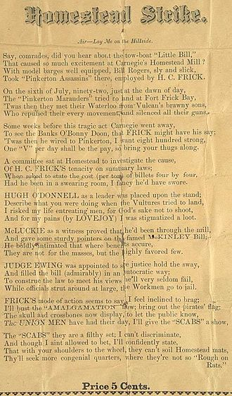 Homestead Strike - Pro-Union pamphlet with lyrics to a song in support of workers