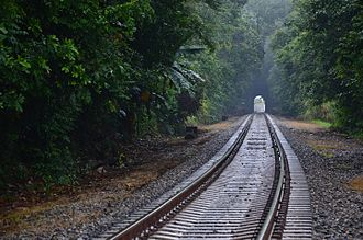 Panama Canal Railway - Panama Canal Railway right-of-way in 2015 with concrete ties.