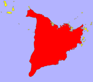 Panay - Panay island in red, its associated islands in yellow