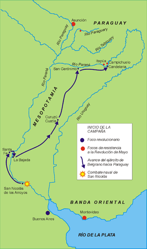 Paraguay campaign - Belgrano's route to Paraguay.