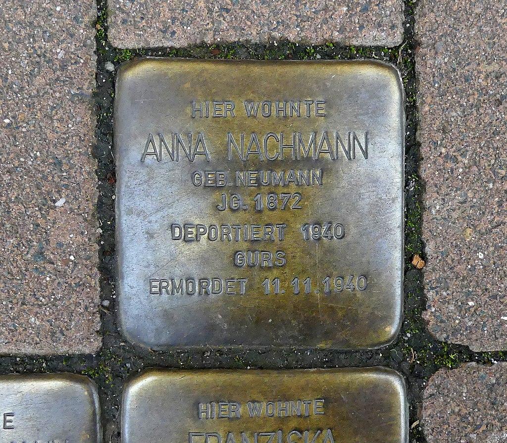 Pariser Strasse 116 - Anna Nachmann - Stolperstein Nieder-Olm.jpg