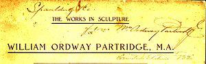 William Ordway Partridge - probable Partridge signature on his 1914 catalog