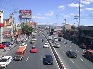 Ortigas Avenue - View of the avenue east towards Cainta from Rosario pedestrian overpass