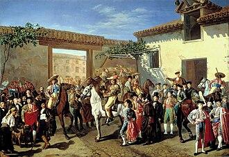 "Manuel Castellano (painter) - ""Patio de Caballos"" at the old Plaza de Toros in Madrid"